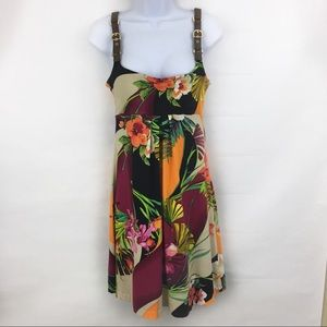 Cache Floral Leather Buckle Strap Sleeveless Dress